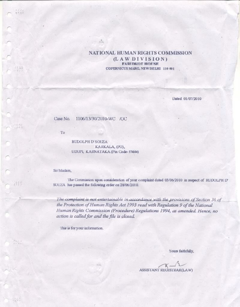 nhrc,human rights,498a,dowry law,nhrc letter,nhrc reply