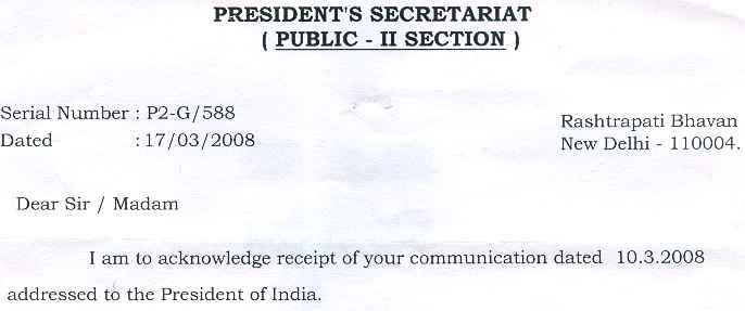 4th President letter
