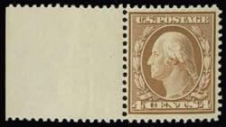 4c Washington Orange brown on bluish paper