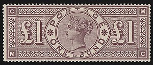 GREAT BRITAIN – 1884, £1 Brown Lilac stamp – worth £.21,000