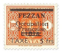 FRANCE – 1943, Fezzan Postage Dues, surcharged 5fr on 1L orange – worth US.$.21,850