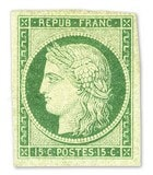 FRANCE – Green Ceres Stamp – worth US.$.17,250