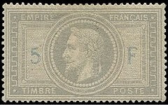 FRANCE – 1869 Napoleon III lauré, 5 fr purple-grey – variety 5 and F in blue – worth US.$.7,500