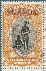 BELGIUM – 1916, East Africa occupation stamp – worth US.$.4,500