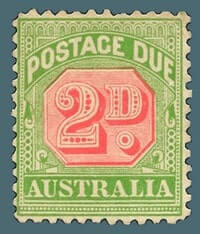 AUSTRALIA – 1909-1910, 2d rose and yellow-green Stamp – worth US.$.13,587