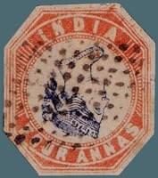 INDIA – 1854, Inverted Head 4 Annas – worth US.$.170,500