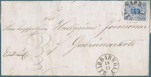 ICELAND – 1876, 10a blue Official on letter – worth US.$.17,000