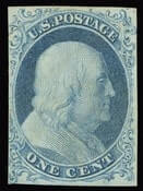 USA – 1851-1856 ISSUE,1c Blue, Ty. Ib, position 8R1E, SOLD for $2,800.00
