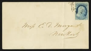 1852, 1c Blue, Ty. Ib, position 4R1E Stationary