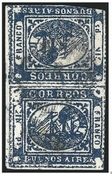 "ARGENTINA – 1859, 1p Buenos Aires (""In Ps"") Deep Blue, Tete-Beche – worth US.$.575,000"