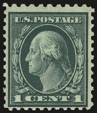 1917, Washington, 1c Green, Perf 10 at Top