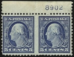 USA – 5c Blue, Horizontal Pair Imperforate Between – worth US.$.22,000