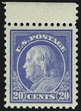 USA – 20c, Benjamin Franklin,  Light Ultramarine – worth US.$.5,250