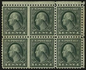 USA – 1c, George Washington, Green, Perf 10, Horizontal Pair – worth US.$.8,500