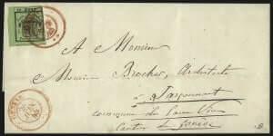 SWITZERLAND - GENEVA, 1843, 5c Black on Yellow Green