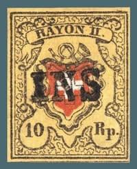 1850, 10-rappen Rayon II stamp