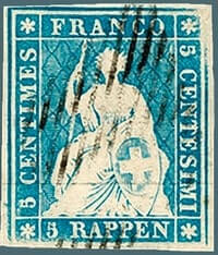 1854, 5-rappen blue stamp