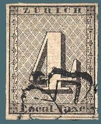 1846, Zurich 4r black stamp