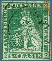 1857, Tuscany 4 Crazie stamp with inverted value tablet