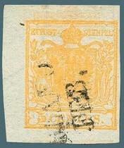 1850, Lombardy & Venetia 5c yellow ochre