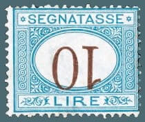 1870, 10L blue and brown, inverted numeral