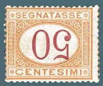 1870, 50c ocher and carmine, inverted numeral