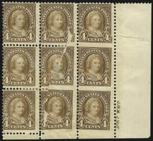 4c Yellow Brown, Vertical Pair, Imperforate Horizontally
