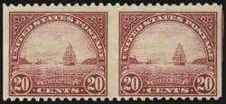 20c Carmine Rose, Horizontal Pair, Imperforate Vertically