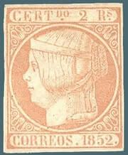 SPAIN – 1852, 2r pale rose stamp – worth $8,500