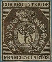 SPAIN - 1853, 3c bronze stamp