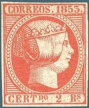 SPAIN – 1853, 2r vermilion stamp – worth $8,000