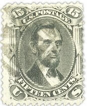 1867, 15¢ black Abraham Lincoln stamp with Z grill
