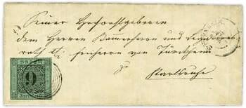 GERMANY - 1851, Baden 9-kreuzer black stamp, error cover