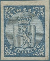 NORWAY – 1855, 4 sk blue Coat of Arms stamp – worth $7,927
