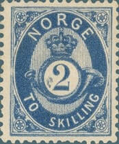 NORWAY – 1871, 2sk Posthorn blue stamp – worth $5,327