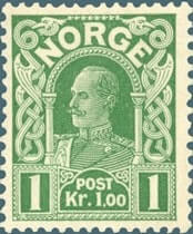 "NORWAY – 1911, 1Kr light green ""King Haakon"" stamp – worth $5,924"