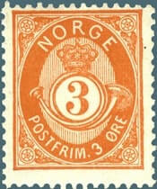NORWAY – 1877, 3øre shaded Posthorn stamp – worth $4,617