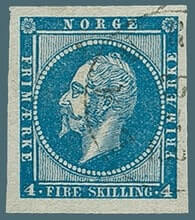 NORWAY - 1856, Oscar 4 sk blue stamp