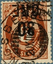 NORWAY - 1906, 30ØRE on 7 skilling red brown stamp