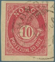 NORWAY – 1896, 10 øre Postfrim stamp – worth $2,369