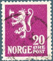 NORWAY – 1922, 20o Deep violet Lion Rampant stamp – worth $1,481