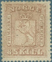 NORWAY - 1863, 8s rose stamp