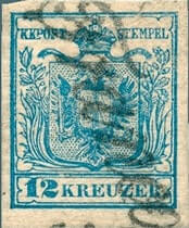 AUSTRIA – 1850, 12kr Coat of Arms stamp – worth $103,500