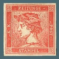 AUSTRIA - 1856, Red Mercury stamp