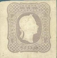 AUSTRIA – 1861, 1kr gray lilac newspaper stamp – worth $29,000