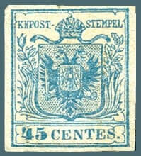 AUSTRIA – 1850, 45c Lombardy Venetia stamp – worth $19,895