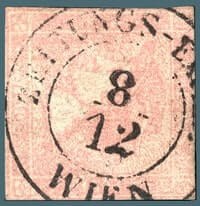 AUSTRIA – 1851,30kr rose Mercury newspaper stamp – worth $8,000
