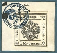 AUSTRIA – 1859,1kr Black Lombardy-Venetia stamp – worth $2,800