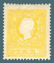 AUSTRIA – 1858, 2kr Yellow Emperor Franz Josef stamp – worth $2,600