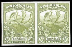 CANADA, Newfoundland - 1919, Trail of the Caribou, imperfs complete